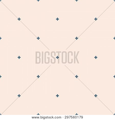 Vector Minimalist Geometric Seamless Pattern. Simple Abstract Texture With Tiny Crosses, Flower Silh