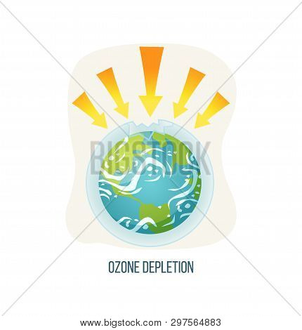 Ozone Depletion Vector, Ecological Problems On Planet Isolated Icon, Poster With Inscription, Earth