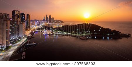 Busan Beach View From Roof Top Of Hotel In Busan City Day To Night Picture With Sunrise Sky And Full