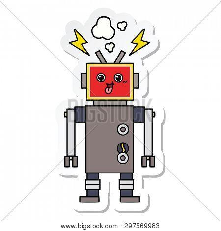 sticker of a cute cartoon crazed robot