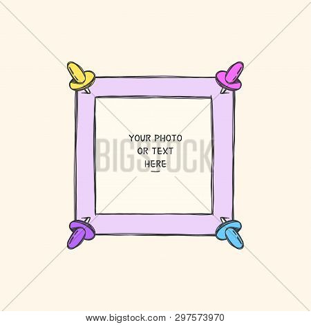 Cartoon Art Style. Decorative Comic Vector Template Frame. This Photo Frame You Can Use For Kids Pic