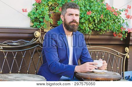Morning Coffee. Mature Man With Beard Relax In Cafe. Ready For Romantic Date. Brutal Bearded Hipster