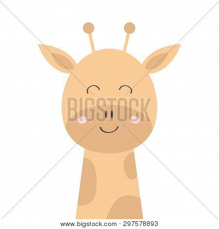 Giraffe Face Head Icon. Kawaii Animal. Cute Cartoon Character. Funny Baby With Eyes, Nose, Ears, Nec