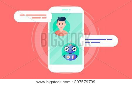 Robo Advisor Helps His Client, Chatting With Him Via The Smartphone. Colorful Flat Vector Illustrati