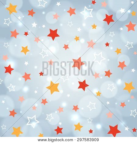 Festive Background With Multi Color Stars. Holiday Pattern. Party Festive Background. Pattern For Ho
