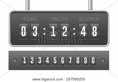 Mechanical Flip Countdown Clock Counter Timer. Digital Time Screen And Numbers. Board With Scoreboar