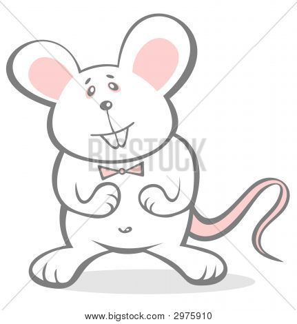 Ornate cheerful mousy isolated on a white background. poster