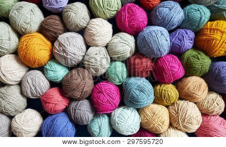 Colorful Background Made Of Wool Yarn Balls.