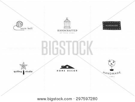 Hand Drawn Isolated Elements. Vector Set Of Logo Handmade Templates. Handwork Theme. For Business Id
