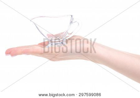 Glass Sauceboat Utensil In Hand On White Background Isolation