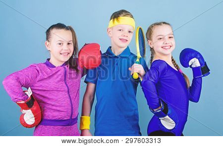 Girls Kids With Boxing Sport Equipment And Boy Tennis Player. Ways To Help Kids Find Sport They Enjo