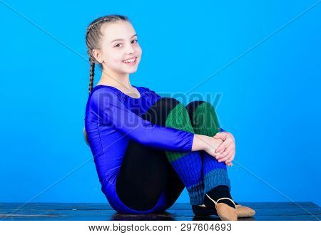 poster of Minute to relax. Rhythmic gymnastics sport combines elements ballet dance. Girl little gymnast sports leotard. Physical education and gymnastics. Flexible body. Rhythmic gymnastics girlish sport