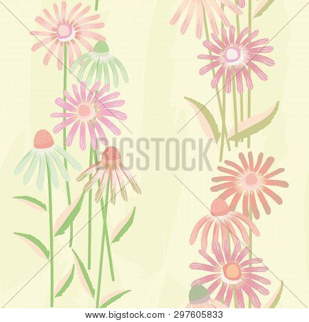 Pastel Green And Pink Echinacea Flowers On Light Yellow Watercolour Style Background. Seamless Vecto