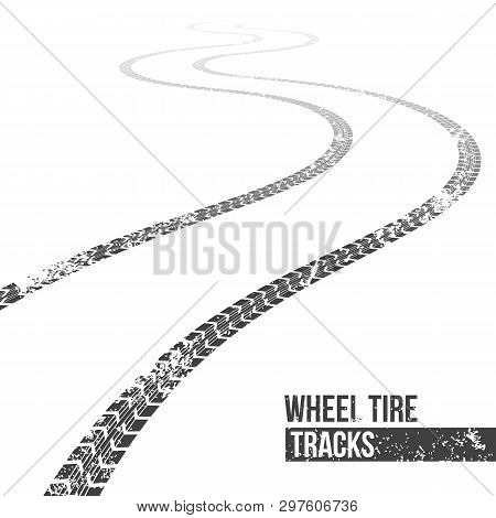 Creative Vector Illustration Of Wheel Tire Tracks. Winding Trace Art Design. Abstract Concept Graphi