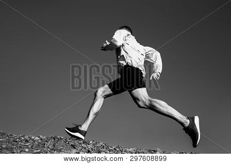 Man Runner Running Uphill Trail Black And White Photo