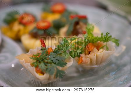 Kratong Thong (minced Chicken And Sweet Corn In Crispy Golden Cup), Appetizer In Thailand