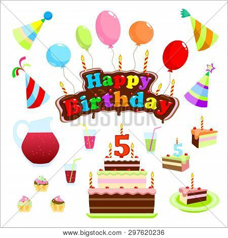 Signboard For The Birthday Of 5 Years. Illustration Celebrations. Happy Birthday Sign In The Form Of