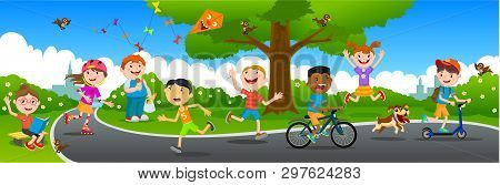 Many Children Play In The Summer Park. Vector Illustration Of Happy Children Playing In Playground.