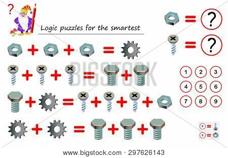 Mathematical Logic Puzzle Game For Smartest. Solve Examples And Count Which Of Numbers Corresponds T