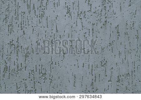 Modern Light Gray Grooved Plaster Of Concrete Wall. Grey Abstract Pattern Of Cement Texture. Texture