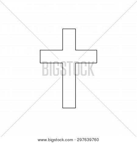 Religion Symbol, Catholicism Outline Icon. Element Of Religion Symbol Illustration. Signs And Symbol