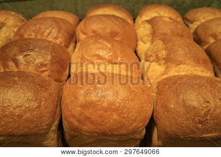 Row Of Delectable Fresh Baked Bread Loaves For Background
