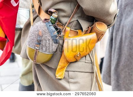 Vintage Leather Holster And Other Ammunition On The Belt. Retro Uniform Of Russian Army During Russi