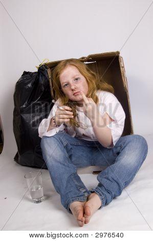 Homeless Girl Showing The Middle Finger
