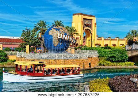 Orlando Fl, Usa - January 9, 2019: Universal Studios Globe Located At The Entrance To The Theme Park