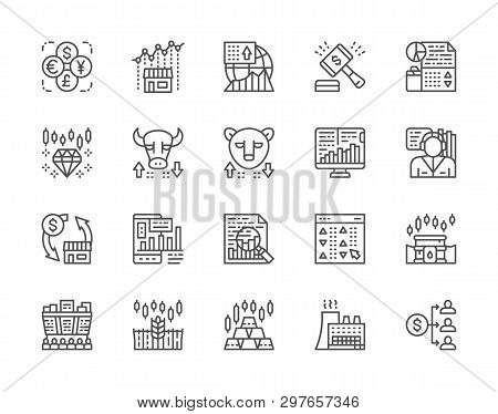 Set of Stock Market Line Icons. Bull and Bear Market, Trader, Dividend and more. poster