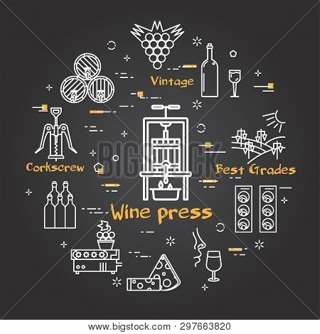 Vector Linear Round Web Banner Of Viticulture, Winemaking And Storage. Wine Press Icon In Center And
