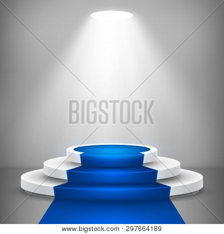 Round Stage Podium With Light. Stage Vector Backdrop. Festive Podium Scene With Blue Carpet For Awar