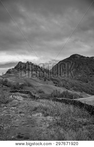 Black And White Image Of Castle Crag And Raven Crag Castle Crag And Raven Crag Are Located In The No
