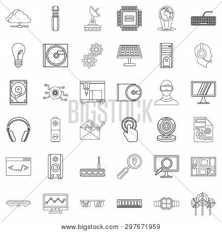 Hitech Icons Set. Outline Style Of 36 Hitech Icons For Web Isolated On White Background