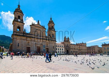 BOGOTA, COLOMBIA - 07 OCTOBER 2010: The National Capitol is situated in Plaza de Bolivar a historic square in the heart of Bogota. Building of the National Capitol started in 1846 was finished 1926