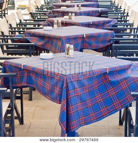 Restaurant tables in Lixouri - Kefalonia Greece poster