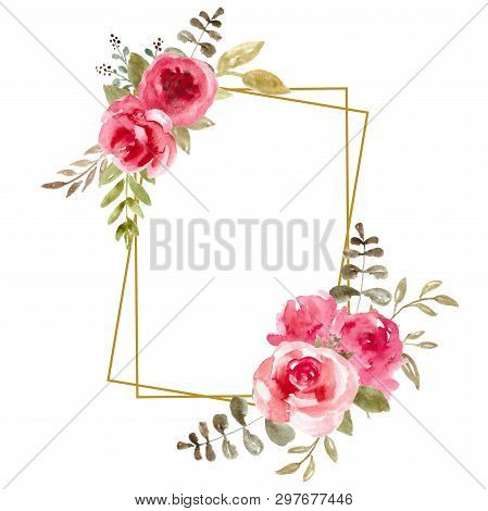 Watercolor Floral Frame, Flower Wreath. Foliage Backdrop For Wedding Invitation, Greeting Card. Pink