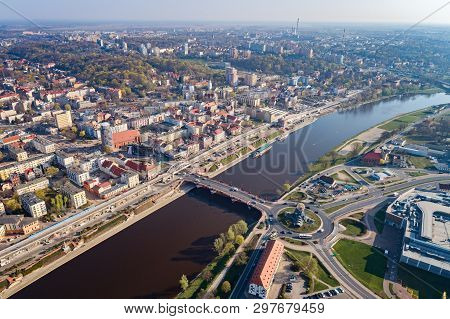 Aerial Drone View On Roundabout In Gorzow Wielkopolski And Warta River