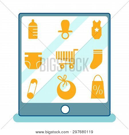 Baby Products Variety Cartoon Vector Illustration. Choosing Goods On Website, App. Selection Of Newb