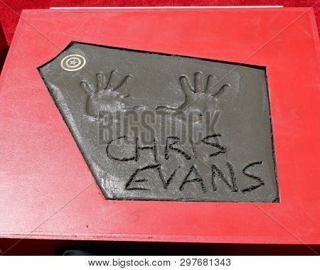 LOS ANGELES - APR 23:  Chris Evans Handprints at the Avengers Cast Members Handprint Ceremony at the TCL Chinese Theater on April 23, 2019 in Los Angeles, CA