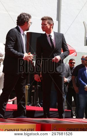 LOS ANGELES - APR 23:  Mark Ruffalo, Jeremy Renner at the Avengers Cast Members Handprint Ceremony at the TCL Chinese Theater on April 23, 2019 in Los Angeles, CA