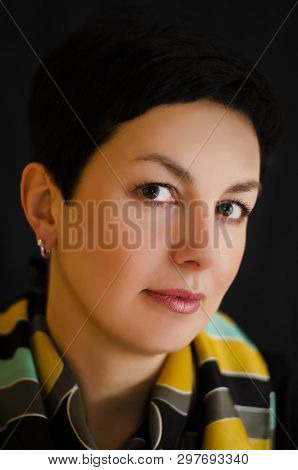 Portrait Of Young Beautiful Woman. Shortcut Brunette