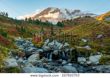 Edith Creek With Mt. Rainier Covered In Changing Foliage In Fall