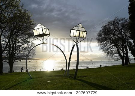 Engagement  By  Dennis Oppenheim    2009   West End   Sunset Beach.this Artwork Is Part Of The Tempo