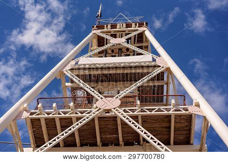 Tall Vintage Gold Mining Lift Tower Used In Australian Goldfields Of Yesteryear