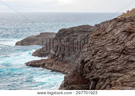 Blowholes Marine Erosion On The Rocky Australian Coastline Near Portland In Victoria