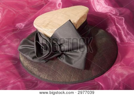 Beige And Brown Ladies Hat With Large Ribbon