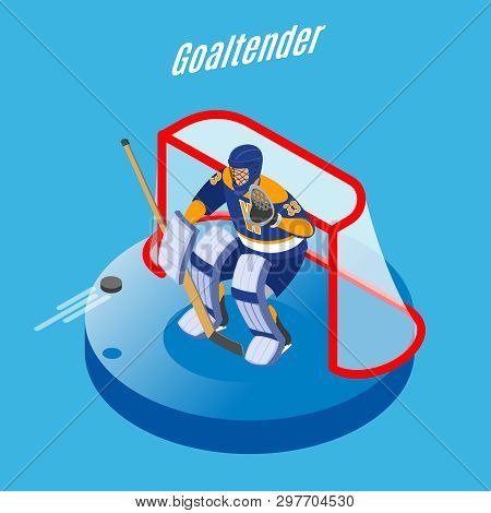 Ice Hockey Goaltender In Full Equipment Protecting Goal With Stick Round Isometric Composition Blue
