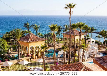 TENERIFE ISLAND, SPAIN - JULY 11: Luxury hotel on July 11, 2016 in Tenerife, Spain.