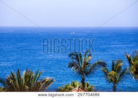 TENERIFE ISLAND, SPAIN - JULY 11: Palm trees and sailboat in the background on July 11, 2016 in Tenerife, Spain.